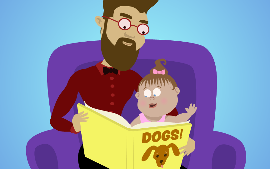 Dad reading book to toddler in his lap