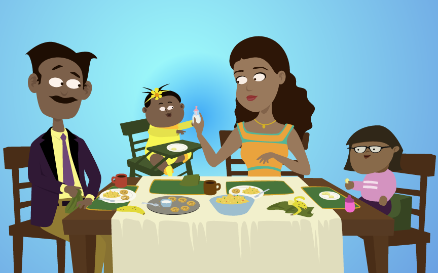 Parents, toddler, and baby sharing dinner as a family