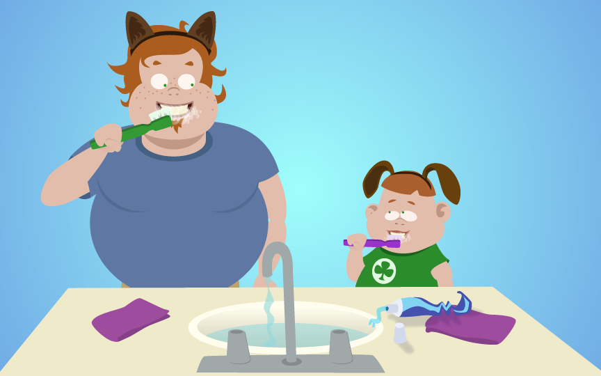 illustration of dad and son brushing teeth